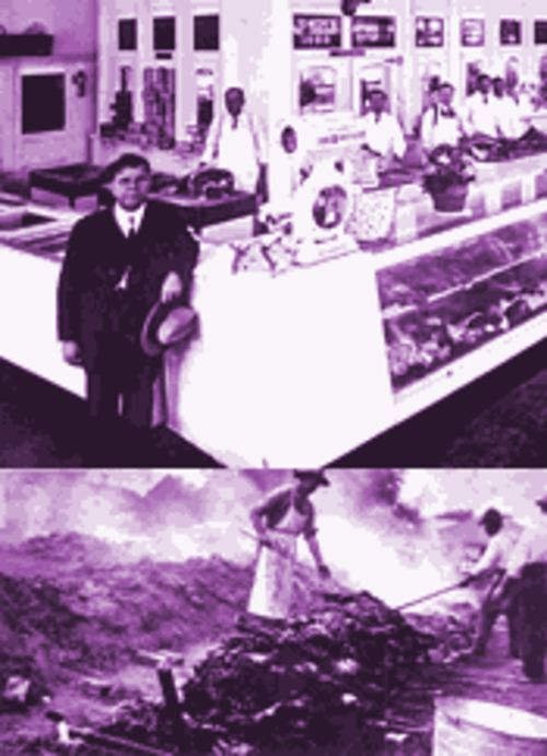 "Many of Texas's legendary barbecue joints started out as meat markets. On top is Abdulla Jowdy's Market in San Antonio, circa 1925. An open pit was the preferred cooking method for large gatherings, including the 1921 barbecue in Victoria (bottom) where 42 cattle were prepared to ""bring farmers and townspeople together."""