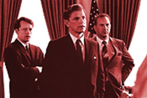 Circling the wagons: Bobby Kennedy (Steven Culp), President Kennedy (Bruce Greenwood) and Kenny O'Donnell (Kevin Costner) battle their own generals as often as they battle the Soviets.