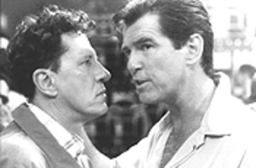Male bonding: Geoffrey Rush and Pierce Brosnan hit some effectively coy notes of sexual tension.