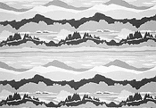 Two sheets to the wind: Francesca Fuchs's Mountains turns an old bedsheet design into an affectionately ironic abstract painting.