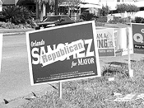 In the nonpartisan races, some Sanchez signs got GOP'd to show his allegiances.