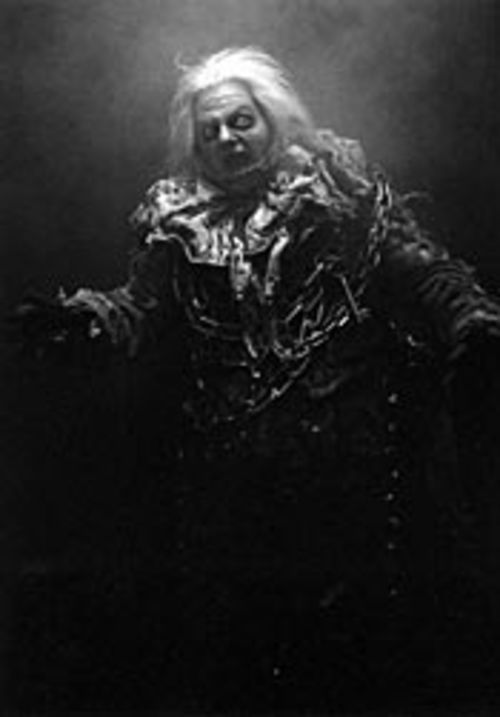 Jacob Marley (played here by the Alley's Jeffrey Bean) gets screwed in the traditional Christmas Carol but is resurrected in Stages' play.