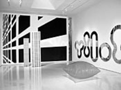 Minimalism, tweaked: Julian Opie's Modern Tower VI, Gerwald Rockenschaub's inflated square and Christian Eckart's Circuit Painting #2805.