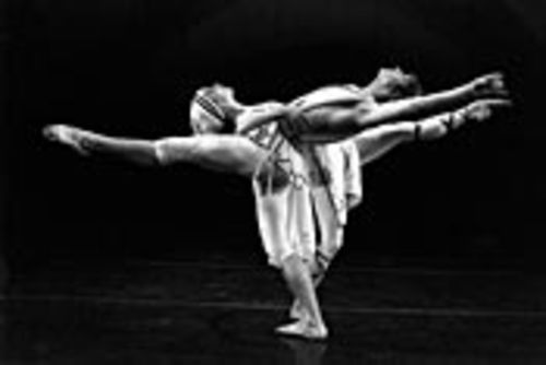 Dancers Julie Gumbinner and Ian Casady intertwine in In the Beginning.