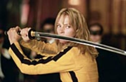 Uma Thurman plays the Bride, who battles scores of men in Green Hornet masks.