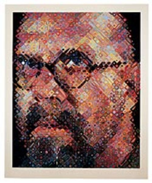 Chuck Close de- and reconstructed himself for this  self-portrait.