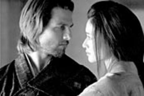 Tom Cruise (shown here with the solo-monikered  Koyuki) sports a goofy, poofy samurai costume.