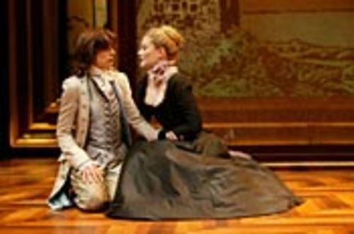 That's no man: Olivia (Elizabeth Heflin, right) falls for  Viola, disguised as Cesario (Josie de Guzman).