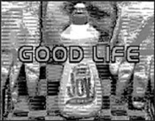 Good Life, with its pixilated image of a bottle of Joy, is an ironic ode to consumerism -- and an early example of digital art.