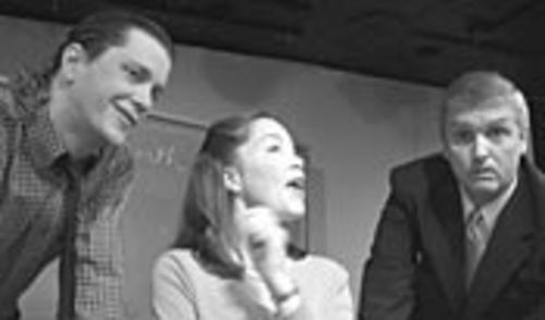 Liberal teaching assistant Gordon Bell (Travis Ammons), Mrs. Farnsworth (Carolyn Johnson) and Mr. Farnsworth (Terry Jones) spar over whether she should publish the book.