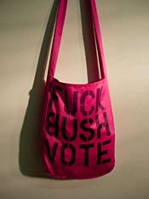 "Bert Bertonaschi contributed to ""The Voting Machine,""  but the purse she wears around town is her most  provocative piece."