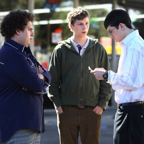 Seth (Jonah Hill, left), Evan (Michael Cera, center) and Fogell (Christopher Mintz-Plasse, right) can have the night theyll remember for the rest of their lives in Superbad.