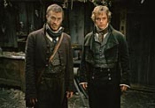 True believer Jacob Grimm (Heath Ledger) and his  cynical brother Will (Matt Damon) travel the  countryside in search of villages in need of exorcising.