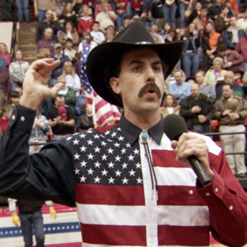 At a Roanoke, Virginia rodeo, Borat mangles the National Anthem -- and the rodeo fans aren't happy about it!