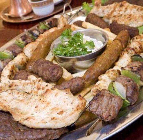 "The ""Balkan mixed plate"" serves more than the recommended two people."