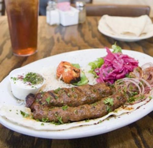 The adana kebabs are made with a spicy blend of ground beef and lamb.