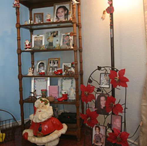 Photographs of Felicia Ruiz fill her parents' home.