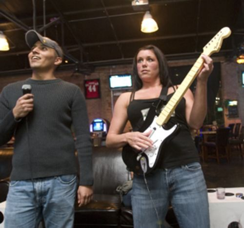 ...like these Rock Band players at Lucky's Pub.