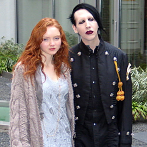 Model Lily Cole and Marilyn Manson make a rare daylight appearance.