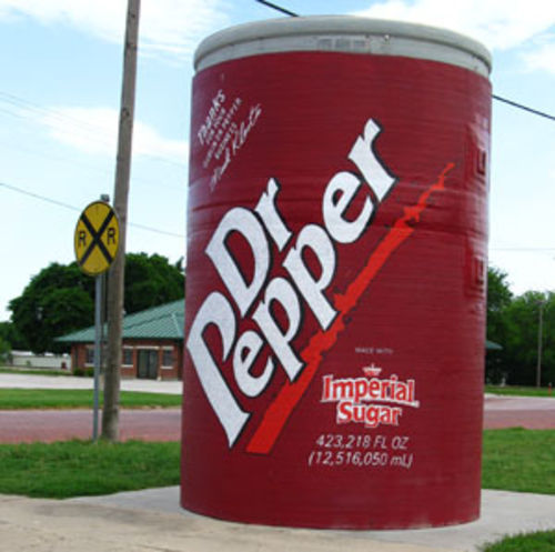 A giant Dr Pepper can outside the bottling plant