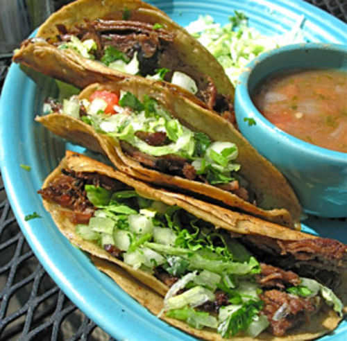 Brisket-stuffed old-fashioned tacos at Matt's El Rancho.