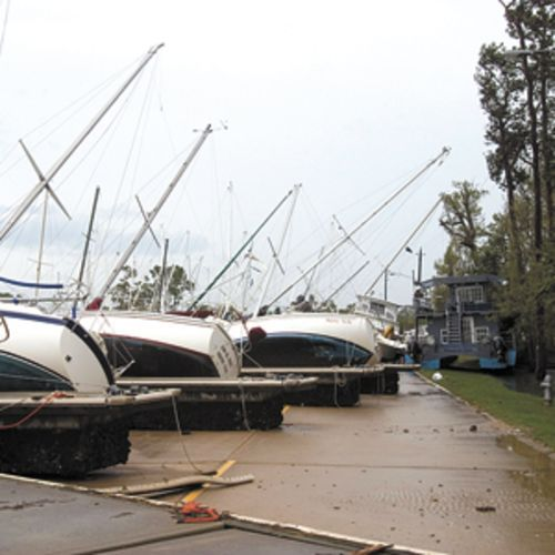The swell was anything but, as these photos from Bayland Marina attest.