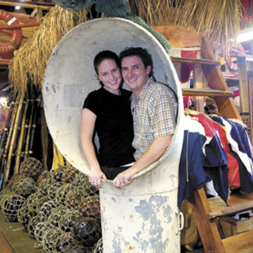 Michael and Adrienne Culpepper, owners of Nautical Antiques in Galveston, back in those glorious days before Ike.
