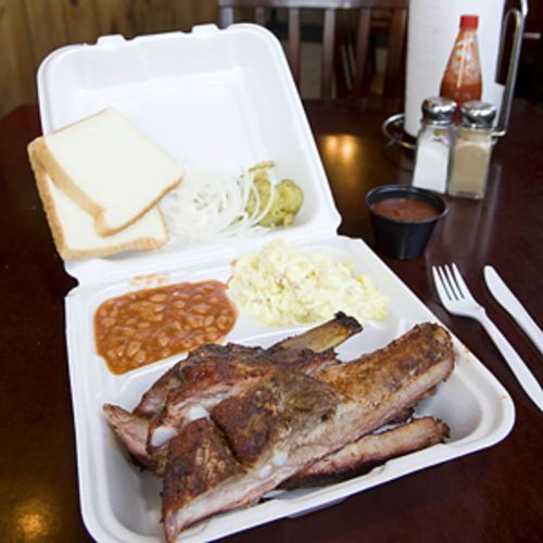 Midway BBQ has dibs on the meat at Midway Food Market.