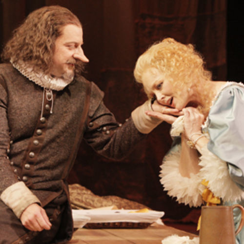 Cyrano (Jeffrey Bean) loves Roxane (Elizabeth Heflin), but can't tell her.