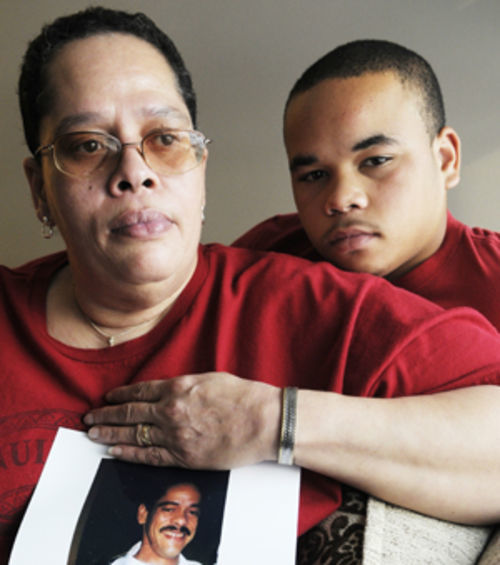 Regina Cleggs and her nephew, Davonte Parker, remember family member Rick Galloway and say Texas's restitution system is a joke.