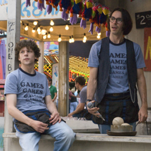 Games guys: James (Jesse Eisenberg) and Joel (Martin Starr).