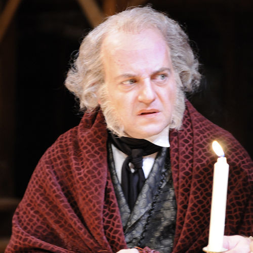 Jeffrey Bean makes a good miser.