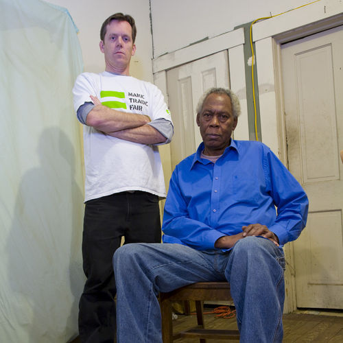 "O'Brien (left) says his neighbor, veteran activist Lenwood Johnson, preaches the same gospel O'Brien's late father did: ""Never go along to get along."""
