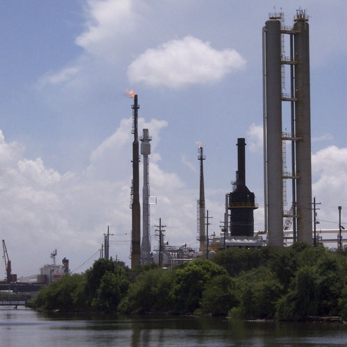 From the Houston Ship Channel, it is easy to see the otherwise hidden world of giant industrial complexes such as the Valero refinery.
