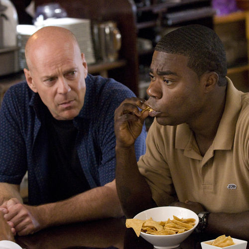 Bruce Willis stays cool and looks good, and Tracy Morgan works broad and blue.