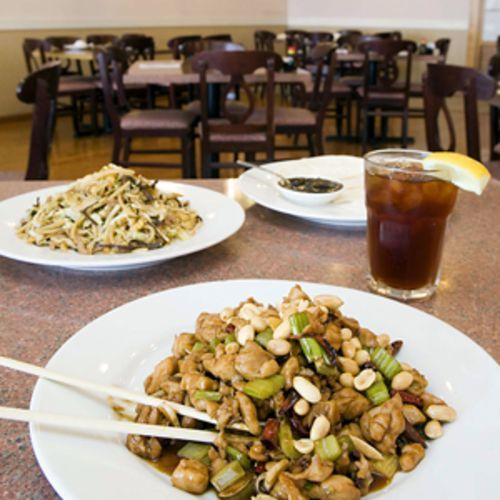 After kung pao chicken with Szechuan peppercorns (front, with moo shu pork), the fizzy tongue sensation doesn't go away.