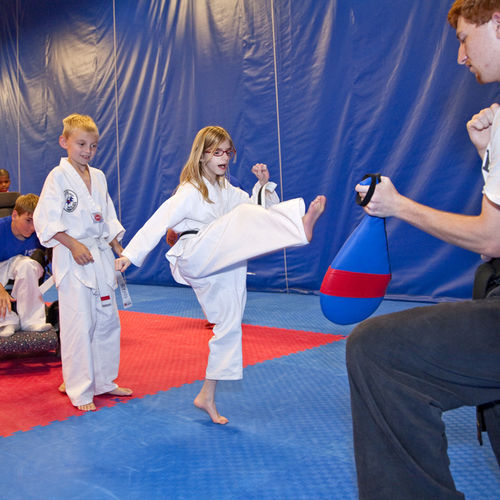 Sienna is working on a yellow belt in her special-needs taekwondo class.