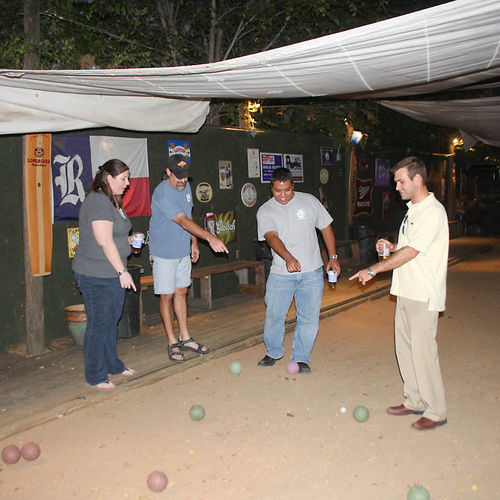 Know how to play bocce? If not, learn on the full-size court at Hans' Bierhaus.