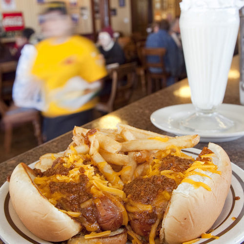 Memory lane: a shake and a chili dog.