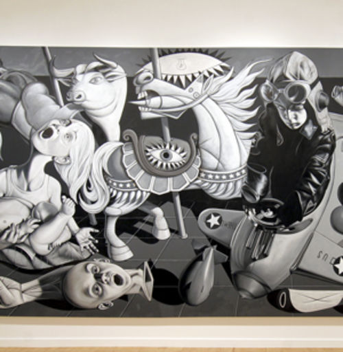 Ron English's Kiddy Guernica is quintessential pop surrealism.