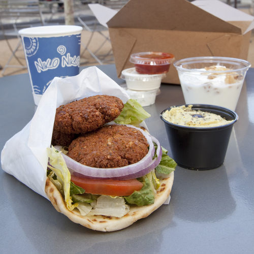Enjoy your falafel box lunch outside.