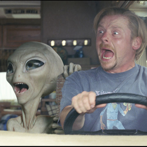 Paul (Seth Rogen, with Simon Pegg, right) looks like every alien throughout popular culture.