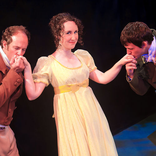 Craig Griffin as Mr. Knightly (left) and Jason Hatcher as Frank Churchill (right) have their hands full keeping up with Sarah Cooksey as Emma Woodhouse.