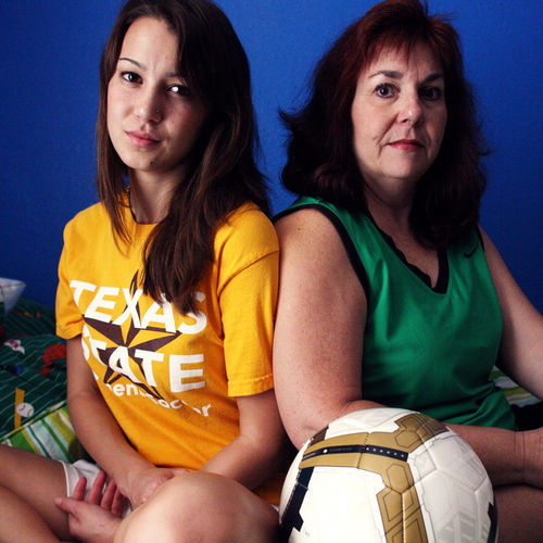 Five years ago, former soccer player Natasha Helmick (left) once played a game half-blind after sustaining a concussion. Today, her mother Micky says that it takes her daughter three times as long to complete mental tasks.