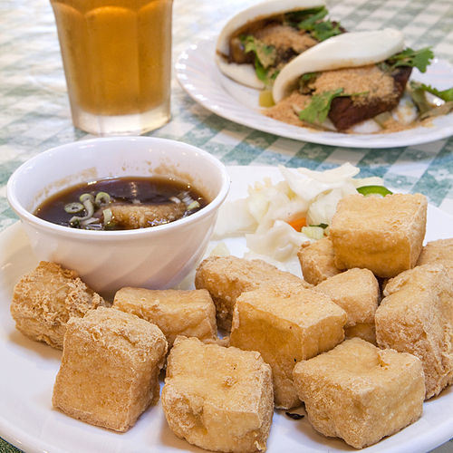 If you fear stinky tofu, try the gua bao (back).