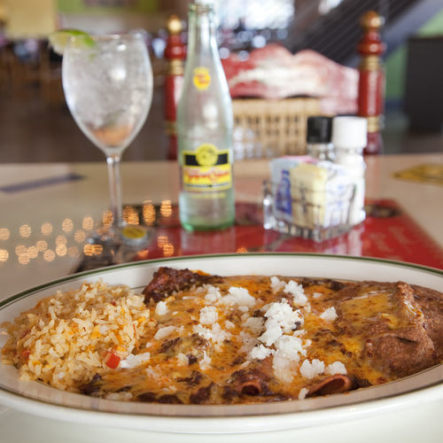 The old-school cheese enchiladas are topped with real-deal chili gravy.