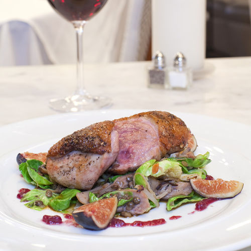 Try the pan-roasted duck with figs and bask in your surroundings.