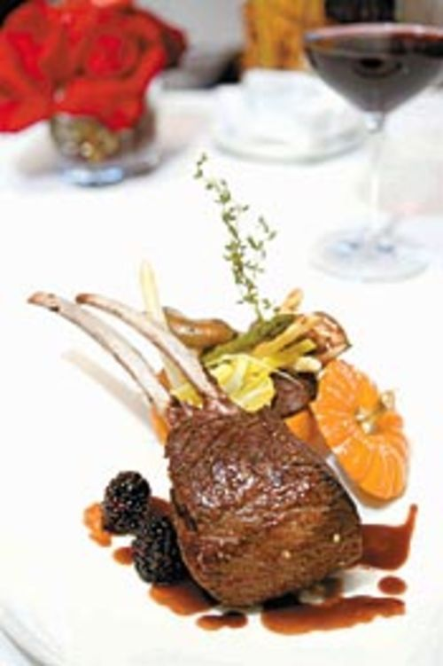 The venison chop comes with an itty-bitty baby  pumpkin stuffed full of cabbage and shiitake  mushrooms.