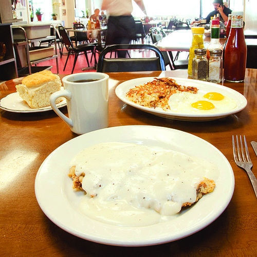 The chicken-fried steak  isn't prefabbed, and the eggs are always perfect.