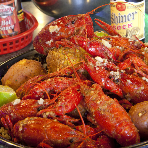 These crawfish are boiled in well-seasoned water.